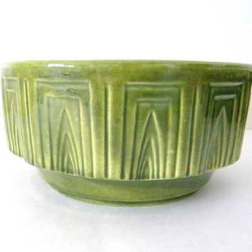 Vintage 1960s Green Bowl / Planter with a Geometric Pattern, Haeger Pottery