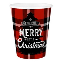 Merry Christmas Typography Tartan Plaid Red Black Paper Cup