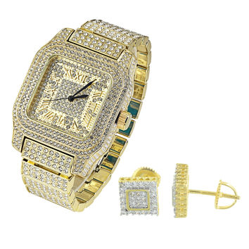 Hip Hop Iced Out  Square Face 14k Gold Finish Watch with Matching Earrings Combo Set