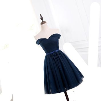 MDBRIDAL Navy Blue Short Bridesmaid Dresses Off Shoulder Lace-up Pleated Tulle Women Wedding Party Dress
