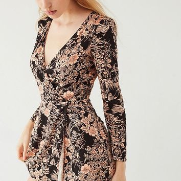 UO Goldmine Plunging Skort Romper   Urban Outfitters