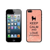 Keep Calm And Love Chihuahuas - Coral Floral - Protective Designer BLACK Case - Fits Apple iPhone 5 / 5S