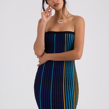 Live In Color Striped Knit Tube Dress
