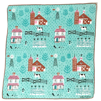 Betty Anderson Handkerchief, Small Town Life, Collectible Hankie, Cotton, Hand Rolled Hems, Aqua Brown Pink, Signed, Vintage 1950's