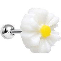 White Daisy Flower Cartilage Tragus Earring