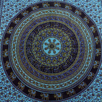 SINGLE indian cotton mandala tapestry hippie wall hanging bohemian bedding throw elephant bedspread bed cover ethnic home decor