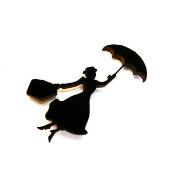 Mary Poppins Jewelry - Laser Cut Wood Brooch - Disney Jewelry