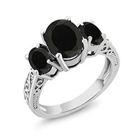 2.41 Ct Oval Natural Black Onyx 925 Sterling Silver 3-Stone Women's Ring (Available in size 5, 6, 7, 8, 9)