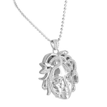 White Gold Finish Medusa Pendant .925 Silver Necklace With Lab Diamonds
