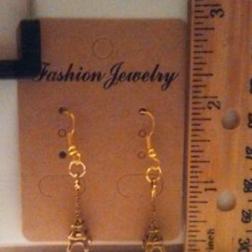 Homemade Gold Plated 3D Eiffel Tower Dangle Earrings - Free Shipping