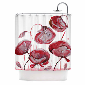 "Ivan Joh ""Poppies"" Watercolor Red Shower Curtain"