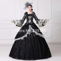 Beautiful Marie Antoinette Dress Victorian Gothic Period Black Ball Gown Elegant High Quality Theatrical Clothing