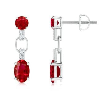 Oval, Round Ruby and Diamond Dangling Earrings