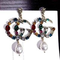 GUCCI Classic Popular Women GG Letter Colorful Diamond Pearl Pendant Earrings Accessories Jewelry