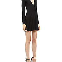Balmain - Pleated Deep-V Dress - Saks Fifth Avenue Mobile