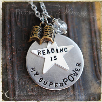 Reading is my SuperPOWer Book Necklace, Gift for Book Lover, Superhero, Read, Geekery, Comic Book Lover gift by rubiesandwhimsy
