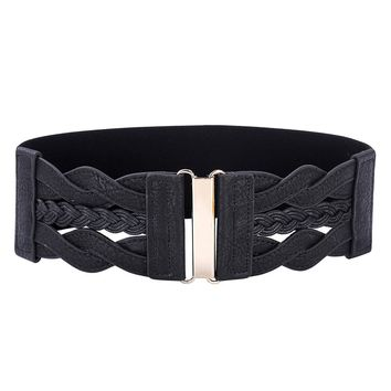 Hot Sale Women Ladies Girls Fashion Waist Belt Wide Braided Polyurethane Leather Stretchy Elastic Waist Ceinture Waistband Cinto