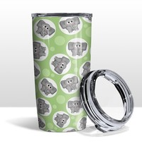 Green Elephant Tumbler Cup - Cute Gray Elephant Green Pattern - 20oz Insulated with Clear Lid - Hot or Cold Beverages - Made to Order