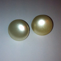 Vintage Pearl Button clip on Earrings