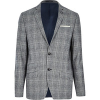 River Island MensGrey check slim suit jacket