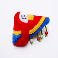 Felt parrot brooch, red, yellow, blue with beads