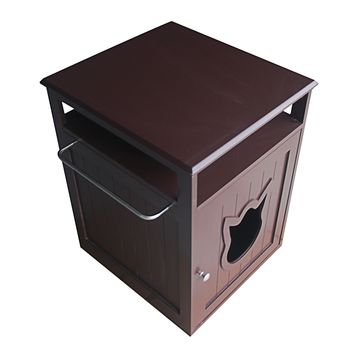 Brown Cat Litter Box Furniture 2-in-1 End Table