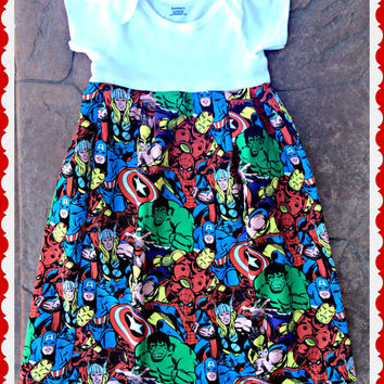 super hero dress baby Spider man Hulk Wolverine Captain America dress 0-3 3-6 6-9 12-18 18-24 2t 3t 4t 5t 6/6X 7/8 10/12