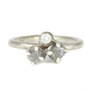 Caw Set Rough Diamond Ring With Diamond Set Bauble