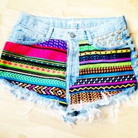 Vintage Studded & Hand Printed Denim Shorts