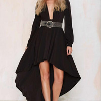 Black Long Sleeve V-Neck Asymmetric Maxi Dress