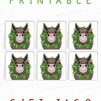 Printable Gift Tag, Donkey Gift Tags, Holiday Gift Label, Christmas Farm Animal, Cute Christmas Hang Tags, Xmas Gift Tag, Party Favor Tags