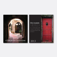 2014 Desk Calendar - Great Gift Idea - 13 Months - Door - Doors of the World - Desk Calendar - Jewel Case Calendar - Holiday Gift