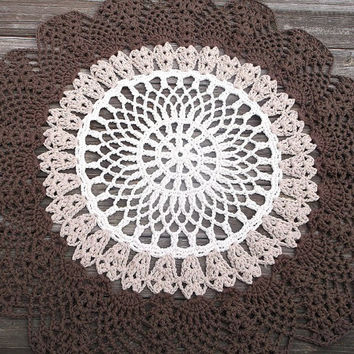 "Off White, Jute, Brown Cotton Crochet Rug in Large 42"" Circle Pineapple Lacy Pattern READYTO SHIP"