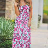 Candy Shop Maxi Dress - Fuchsia Damask