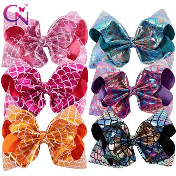 "6 Pieces/lot 8"" Mermaid Hair Bows With Clips For Kids Girls Handmade Fish Scales Metallic Fabric Bows Hairgrips Hair Accessories"