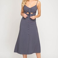 Button Up Midi Spaghetti Strap Dress - Navy Grey