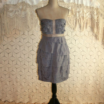 Gray Strapless Dress Club Dress Party Dress Edgy Dress Leather Trim Tiered Ruffle Short Dress Size 6 Size 8 Small Medium Womens Clothing