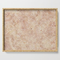 Iced coffee and white swirls doodles Serving Tray by savousepate