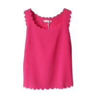 TOPTIE Women's Sleeveless Wavy Sheer Chiffon Shirt Blouse Tank Tops Vest ROSERED-S