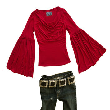 Women's red top sleeve cowl bell sleeve tratgirl