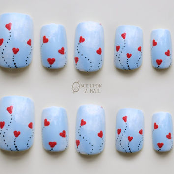 Heart Balloon Valentine's Hand Painted Fake Nails