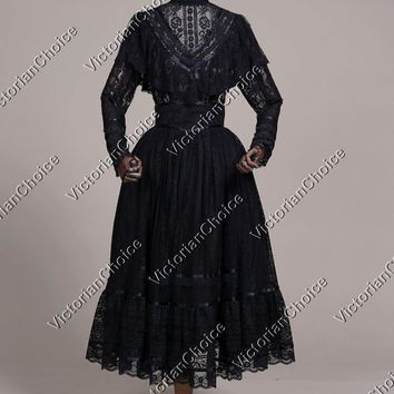 Victorian Vintage Lace Ghost Bloody Mary Dress Theater Halloween Costume N 030