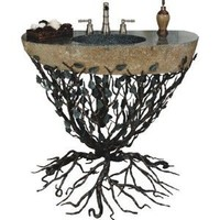"Organic Suites Embracious Aspen Forest Iron Pedestal Bathroom Sink Sink Finish: Silver Shimmer, Sink Size: 33""- 40"""