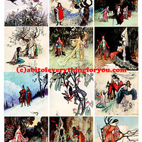 victorian vintage fairy tale collage sheet 2.6 inch squares images clip art digital downloadable graphics images greetings cards tags aceo