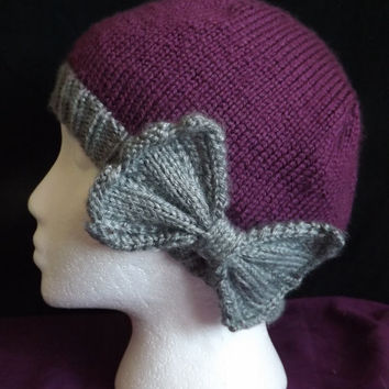 Hand-knit Beanie with Side Bow