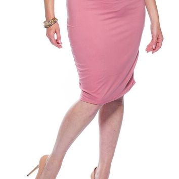Pink Plus Size Pencil Skirt