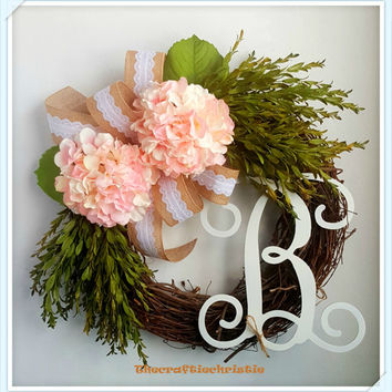Easter Wreath-Easter Decorations-Burlap Easter Wreath-Spring Wreath-Front Door Spring Wreath-Front Door Monogram Wreath-Front Door Decor