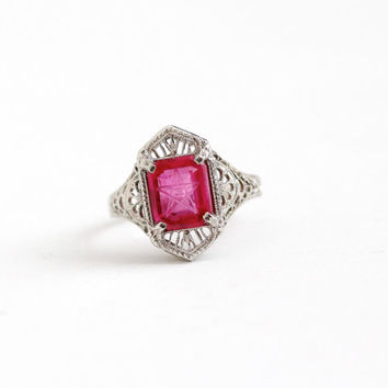 Vintage 10k White Gold Art Deco Created Ruby Order of the Eastern Star Ring - Size 5 1/4 OES Masonic Red Pink Incised Stone Fine Jewelry