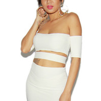 Off-The-Shoulder Cut-Out Bandage Dress in Off-White
