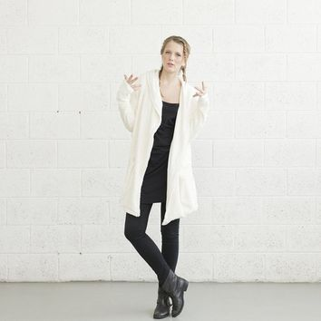 Ivory Hoodie Front Pocket Faux Fur Jacket
